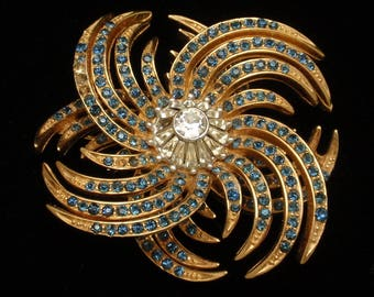 Boucher Spiral Pin with Rhinestones Vintage