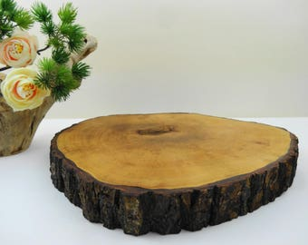 """Tree Trunk Slice, Tree Trunk Centerpiece, Bark Wood Round, Woodland Decor, Tree Slice Display, Cake Stand, Flower Stand, Candle Stand, 9"""""""