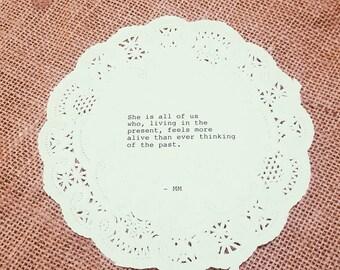 Marjorie Motto Typewriter Doily