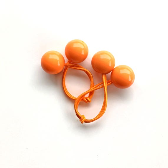 ORANGE BOBBLES. Hair ties. Elastic hair ties. Orange hair bobbles. Retro style hair bobbles.