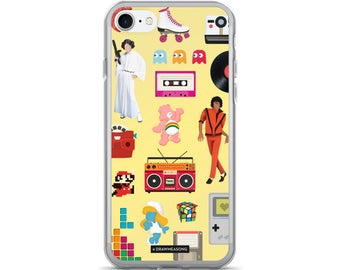 Acceptable in the 80s Yellow iPhone 7/7 Plus Case, Pop Art Dance Electronic Song Illustration, Eighties Fun Music Art, Pop Culture Gift