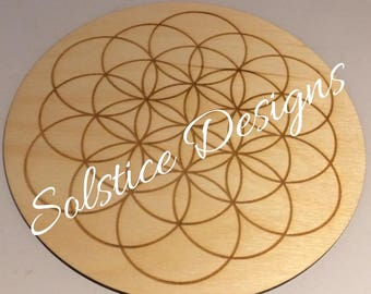 Wooden Crystal Grid  Flower of Life Holistic Healing Spiritual Metaphysical New Age