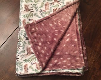 Deer print minky baby blanket 25x33in