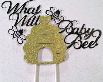 What Will Baby Bee, what will baby bee cake topper,what will baby be cake topper, gender reveal, BabyShower, Gender Reveal