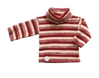 FRENCH VINTAGE 70's / baby jumper / turtleneck striped pull-over / NOS / size 6 months