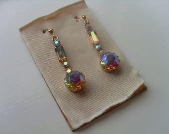 Vintage Dangle Earrings, Vintage Drop Earrings, Aurora Borealis Drop Earrings, Crystal Earrings, Iridescent  Earrings, Set Crystal Earrings