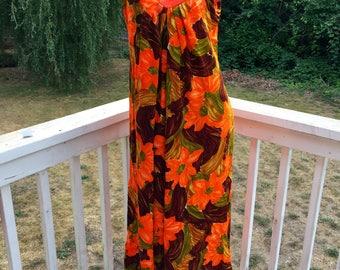 Vintage Resort Wear Barkcloth Hawaiian Casuals Stan Hicks Orange Brown Floral Tropical Beach Aloha Luau Muu Muu Dress