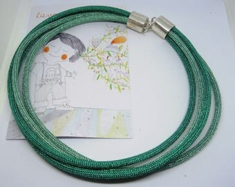 Lurex green or bronze Wire necklace Made in Italy