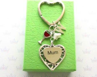 Mother's Day gift - Personalised mum keyring - Birthday gift for mum - Red Wine keyring - Wine keychain - Stocking Filler - Red wine gift UK