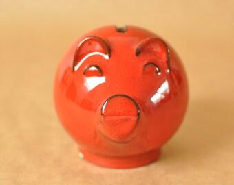 West-german pottery piggy bank - pig shaped moneybox - red glaze