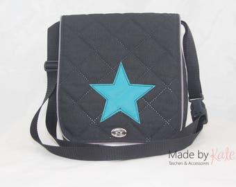 Messenger bag, small messenger bag, black bag, cross body bag, black and turquoise, star bag, college bag,