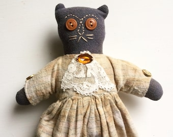 Vintage primitive cat doll handmade cloth cat