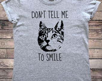 Don't Tell Me To Smile Feminist Cat RBF T-Shirt