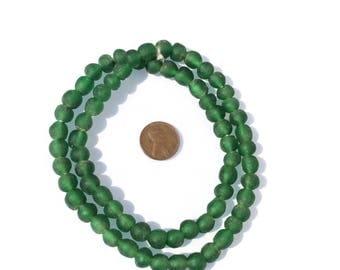 45 beads African Ghana Emerald Green Krobo Round Recycled Glass trade beads