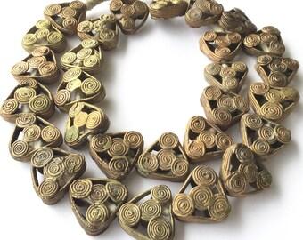 Ghana African authentic handmade Triangle brass trade beads