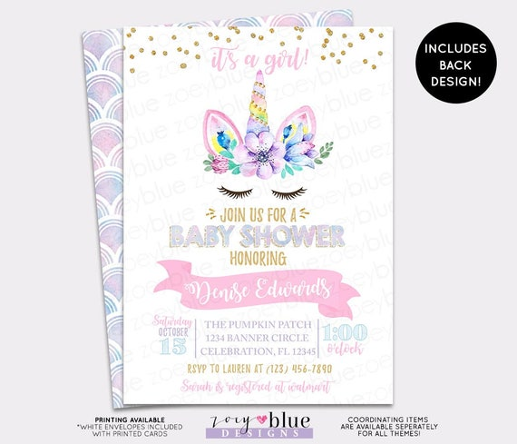 Unicorn Baby Shower Invitation It's A Girl Magical