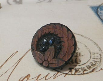 Rare Painted Black Glass Button to Imitate Wood