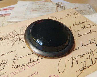 Extra Large Faceted Black Glass Victorian Mourning Button  1 3/4""