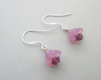 Tiny pink flower earrings with swarovski elements, floral earrings