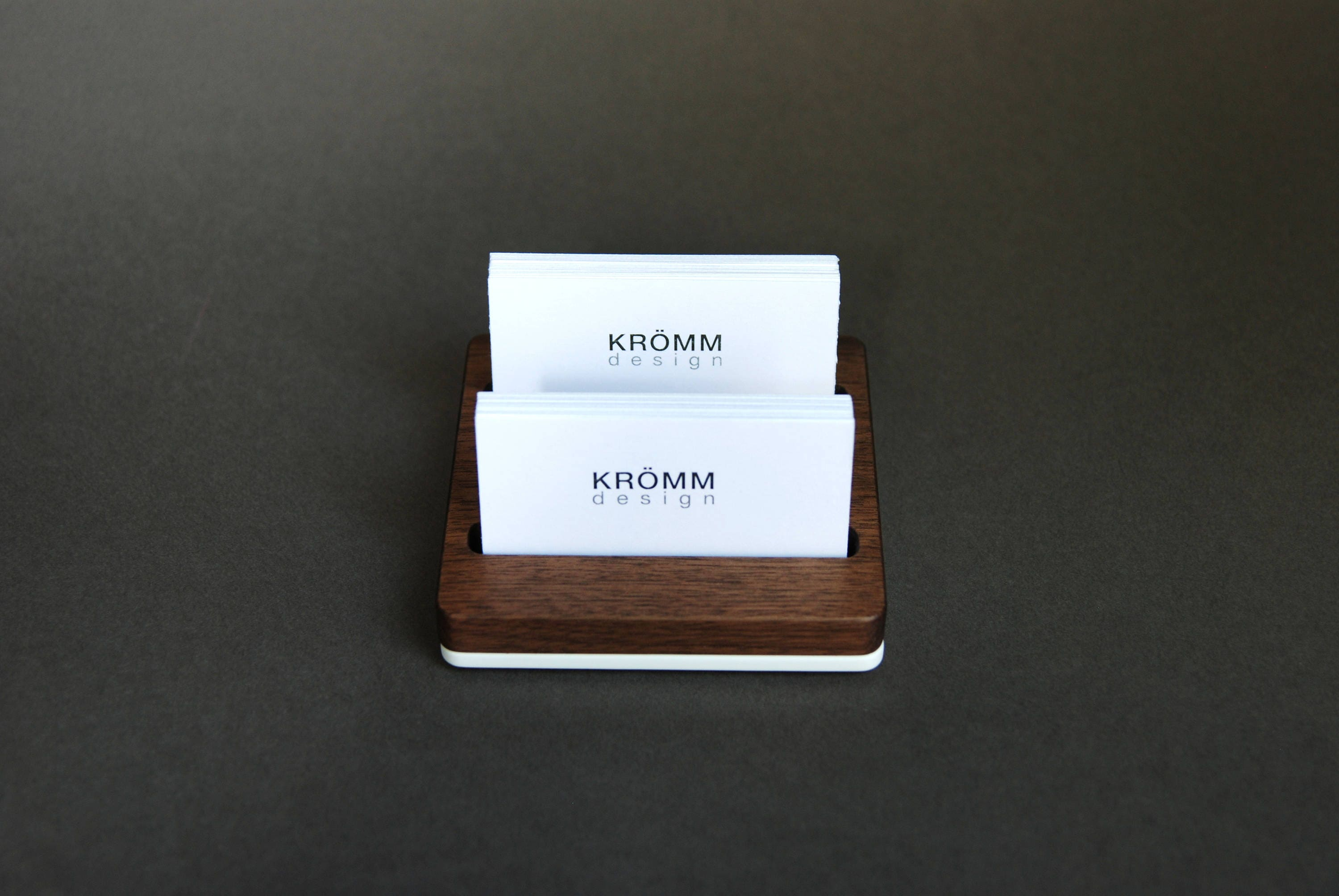 Wood two row business card holder for front desk wood business wood two row business card holder for front desk wood business card stand multiple business card display walnut wood card holder magicingreecefo Image collections