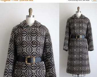 SALE 50% OFF 1960s Coat / Vintage 1960s Wool Coat / Deadstock Belted Wool Coat
