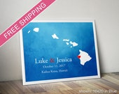 Custom Hawaii Print with Watercolor Background - Wedding Guest Book, Wedding Gift, Engagement Gift, Anniversary Gift