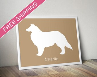 Personalized Collie Silhouette Print with Custom Name - Collie art, dog home decor, dog art, dog gift