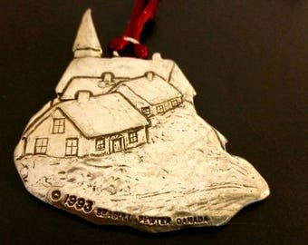 Vintage Pewter Christmas Ornament, 1993 Seagull Pewter Canada Village Church Scene