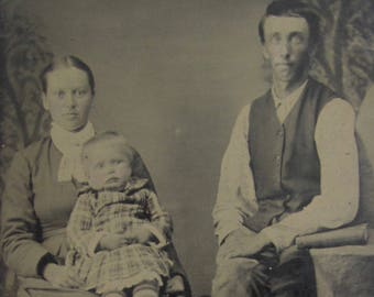 A Farmers Life - Original 1880's Young Rural Family Photo Tintype Photograph - Free Shipping
