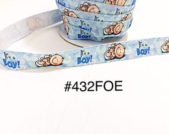 """3 or 5 yard - 5/8"""" It's A Boy For Baby Shower on Blue Fold Over Elastic FOE Headband Hair Accessories"""