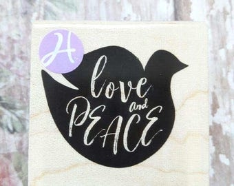 Peace and Love Holiday Hampton Art Wood Mounted Rubber Stamp Scrapbooking & Paper Craft Supplies