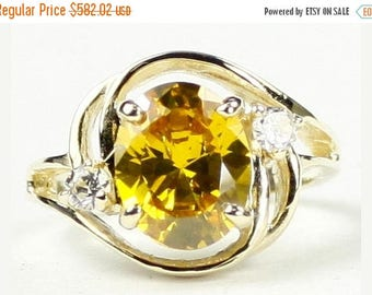 On Sale, 30% Off, Golden Yellow CZ, 14KY Gold Ring, R021