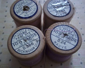 Collection of Four Vintage Wooden Sylko Bobbins - Pinks, Mauves