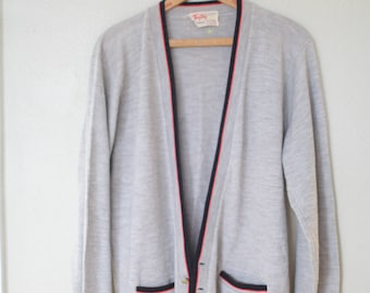 vintage gray button up grandpa cardigan sweater
