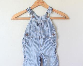 vintage osh kosk striped denim jean overalls baby romper