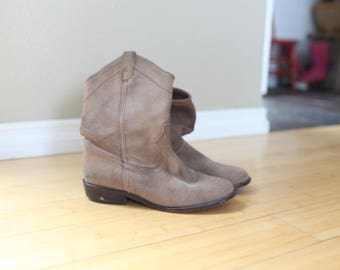 vintage brown suede leather western cowboy boots womens shoes 6 1/2