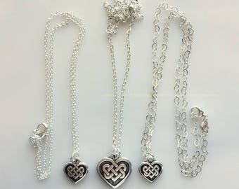 Celtic Heart Pendants With Sterling Silver Chains - Large and Small Heart Pendants - Choice of Sterling Chains