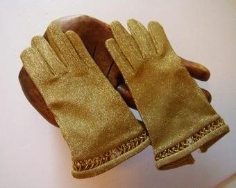 Gold mesh gloves, Gold dress gloves, wedding gloves, gold mesh short gloves