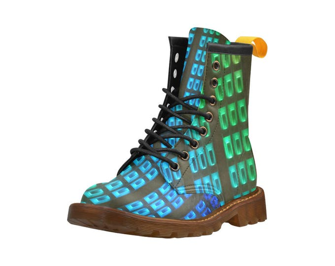 Pride LED Lights Indiana Power & Light Building, Men's high top combat boots, 80's style, unisex prints