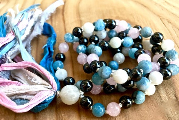 108 Aquamarine Mala Beads, Hematite, Rose Quartz, Moonstone Heart Throat Chakra, Summer Fashion, Silk Sari Tassel Necklace, March Birthstone