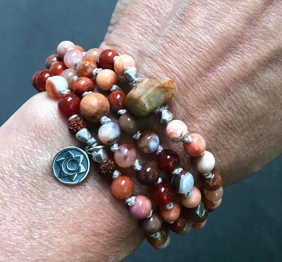108 Sacral Chakra Mala Beads, Carnelian Mala Bracelet, Sandalwood, Raw Sapphire, Creativity, Svadhisthana Chakra, Trauma Healing Creativity