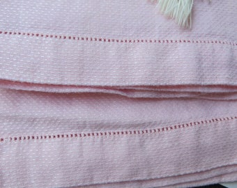 Towels Cotton in PINK  //  Vintage Linens  //  Open Work Hem on Both Ends  //  Pretty in Pink
