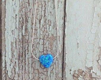 SALE Opal necklace, heart necklace, opal silver necklace, blue opal, glistening opal,blue opal necklace,silver necklace opal,gift - 009.2