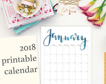 "2018 Printable Calendar, Calligraphy, Editable, Letter Size 8.5"" x 11"" Instant Download, Portrait, Wall (2017 included)"