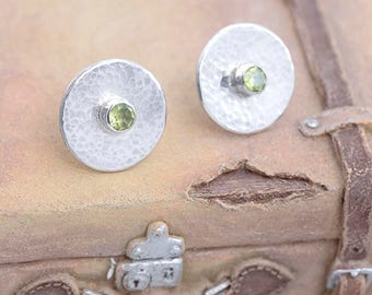 Peridot Earrings, Peridot Jewelry, Round Silver Stud Earrings, Silver Earrings with Peridot,  Birthstone August Jewellery Green Gift For her