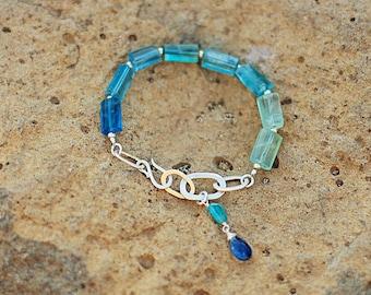 Calipso Fluorite and silver bracelet