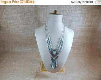 SALE Silver and Turquoise Necklace 3 rows tassel style