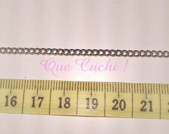 1 meter silver chain nickel-free metal mesh 2 x 3 mm