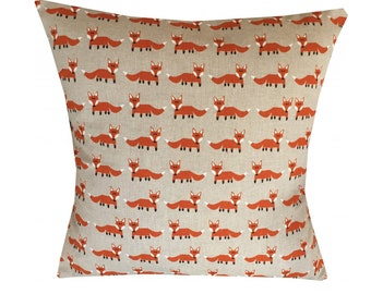 "Designer fox orange & beige scandinavian retro cushion cover 16"" - 24"""