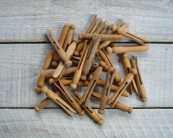 30 Vintage Wooden Clothespins ~ Round Wood Clothes Pin Peg Variety ~ Rustic Antique Farmhouse Laundry Room Decor (S4)